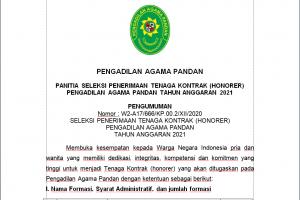 Pengumuman Penerimaan Tenaga Kontrak / Honorer Pengadilan Agama Pandan Tahun 2021
