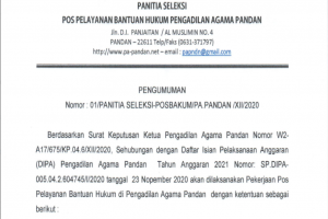 Pengumuman Seleksi Jasa Pos Bantuan Hukum (Posbakum) Pengadilan Agama Pandan Tahun 2021